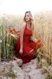 Schöne blonde Frau auf einem Weizengebiet mit Mohnblumen bei Sonnenuntergang Stockbilder