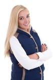 Schöne blonde Frau in der warmen Kleidungsaufstellung lokalisiert auf Weiß Lizenzfreies Stockfoto