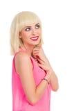 Schöne blonde Frau, die oben schaut Lizenzfreies Stockbild