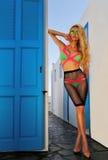 Schöne blonde Frau in einem fantastischen Farbbadeanzug Lizenzfreies Stockbild