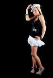 Schöne blonde Frau getrennt auf Schwarzem Stockfotos