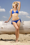 Schöne blonde Frau im blauen Bikini Stockbild