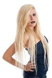 Schöne blonde Frau im blauen Kleid Lizenzfreie Stockfotografie