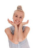 Schöne blonde Frau im Porträt Stockbild