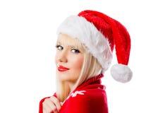 Schöne blonde Frau im roten Hut Lizenzfreies Stockbild