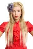 Schöne blonde Frau im roten Portrait getrennt Lizenzfreie Stockfotos