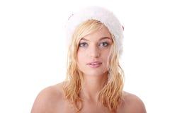 Schöne blonde Frau im Sankt-Hut Stockfotos