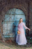 Schöne blonde Frau mit einem Korb von Äpfeln und von Blumenblumenblättern Stockfotografie