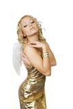 Schöne blonde Frau mit Engel Lizenzfreie Stockfotos