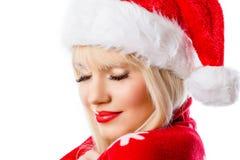 Schöne blonde Frau mit Feiertagsmake-up lizenzfreie stockbilder