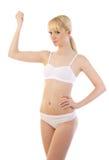 Schöne blonde Frau in sportlichem undrewear Lizenzfreies Stockfoto