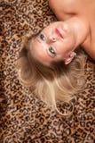 Schöne blonde Frauen-Haltungen auf Leopard-Decke. Stockbilder