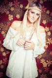 Schöne blonde Hippie Stockfotografie