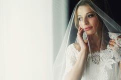 Schöne blonde Hochzeitsbraut im Make-up und Schleier in einem weißen Dr. Lizenzfreie Stockbilder