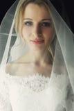 Schöne blonde Hochzeitsbraut im Make-up und Schleier in einem weißen Dr. Stockbild