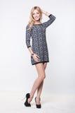 Schöne blonde junge Dame, die im Kleid aufwirft Lizenzfreies Stockfoto