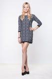 Schöne blonde junge Dame, die im Kleid aufwirft Lizenzfreie Stockfotografie