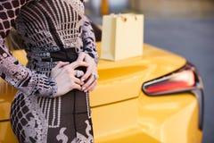 Schöne blonde junge Frau mit Einkaufstasche Lizenzfreie Stockfotos