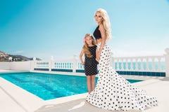 Schöne blonde junge Mutter und die Tochter, gekleidet in Tupfen kleiden an Lizenzfreies Stockbild