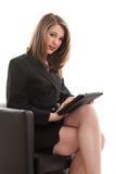 Schöne blonde kaukasische Geschäftsfrau stockbild