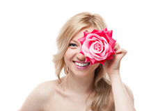 Blondes Mädchen mit Blume Lizenzfreie Stockbilder