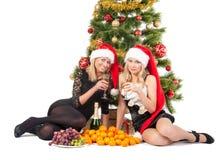 Schöne blonde lächelnde Frauen mit chrismas Baum Lizenzfreie Stockfotos