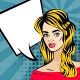 Schöne blonde Mädchenpop-arten-Weinlese lizenzfreie abbildung