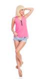Schöne blonde Mode-Modell-Aufstellung Lizenzfreies Stockfoto