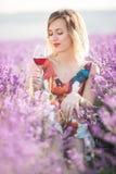 Schöne blonde sexy Frau trinkt roten trockenen Wein auf dem Lavendelgebiet Lizenzfreies Stockfoto