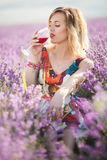 Schöne blonde sexy Frau trinkt Rotwein auf dem Lavendelgebiet Lizenzfreie Stockfotos
