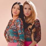Schöne blonde und des Brunette sexy Mädchen, die zusammen stehen Stockbilder