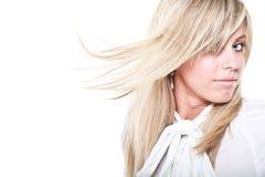 Schöne blonde vorbildliche Aufstellung Stockfoto
