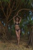 Schöne blonde Zauberfrau, welche die schwarze Badebekleidung aufwirft an einem schönen Sommertag zwischen Palmen trägt Lizenzfreie Stockfotos