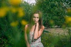Schöne Blondine auf einem Sommergebiet Stockbild