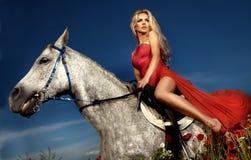 Schöne Blondine, die auf einem Pferd im roten Kleid sitzen. Stockfotografie