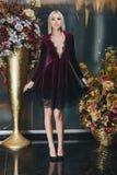 Schöne Blondine, die im Bordeauxkleid aufwerfen Stockbilder