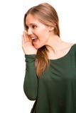 Schöne Blondine, die jemand fordern Lizenzfreie Stockfotos