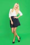 Schöne Blondine in einem Kleid Lizenzfreie Stockbilder
