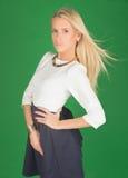 Schöne Blondine in einem Kleid Lizenzfreie Stockfotos