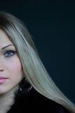 Schöne Blondine im Pelzmantel Lizenzfreie Stockbilder