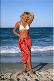 Schöne Blondine im roten Rock Stockfotografie