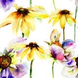 Schöne Blumen des nahtlosen Musters Lizenzfreies Stockbild