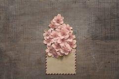 Schöne Blumen im alten Umschlag Stockfoto