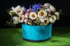Schöne Blumen im blauen Topf Lizenzfreie Stockfotos