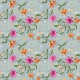 Schöne Blumen im Weinlesefarbnahtlosen Muster lizenzfreie abbildung