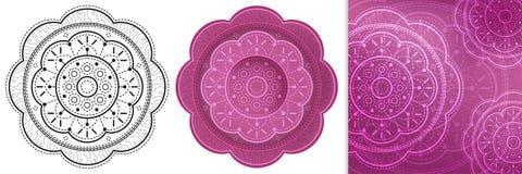 Schöne Blumenmandala mit wiederholten Schritten für Malbuch und bunte quadratische Schablone Stockfotos