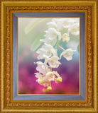 Schöne Blumenorchidee in antikem Blickgoldfarbbild fram Lizenzfreies Stockbild