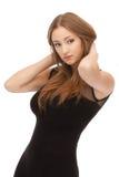 Schöne braune Haarfrau getrennt Stockfoto