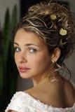 Schöne Braut auf Hochzeitstag Stockfotografie