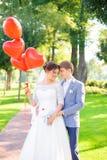 Schöne Braut des glücklichen Paars und die Umfassung pflegen lizenzfreie stockfotografie